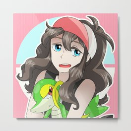 Hilda and Snivy Metal Print