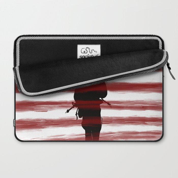 Soldier and Flag - Patriotic Laptop Sleeve