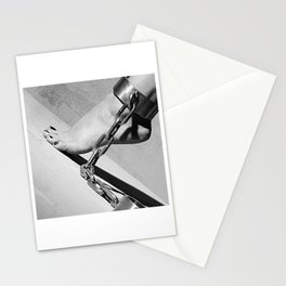 Bare Feet shackled with heavy cuffs Stationery Cards