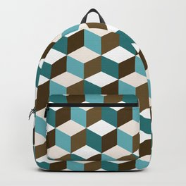 Cubes Pattern Teals Browns Cream White Backpack