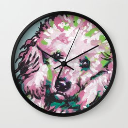 fun poodle Dog portrait bright colorful Pop Art painting Wall Clock
