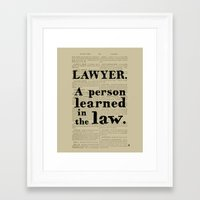 lawyer Framed Art Prints featuring Lawyer Definition by Blackacre Studios