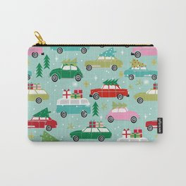 Vintage Christmas cars festive holiday traditions snow winter snowflakes classic car pattern Carry-All Pouch