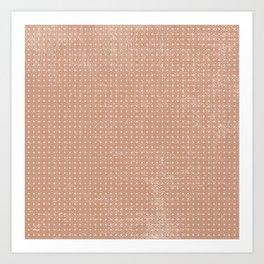 Vintage peach ivory polka dots brushstrokes pattern Art Print