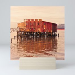 Old Red Net Shed, Building on Pier, Columbia River, Astoria Oregon Mini Art Print