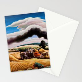 American Classical Masterpiece Threshing Wheat by Thomas Hart Benton Stationery Cards