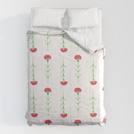 Carnations flowers watercolor art Comforters