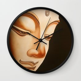 Tranquil oil painting of a peaceful Buddha  Wall Clock