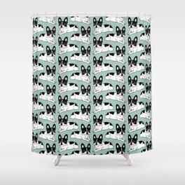 Double Hooded Pied Frenchie Shower Curtain