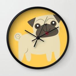 Happy Pug on Mustard Wall Clock