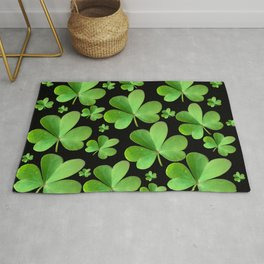 Clovers on Black Rug