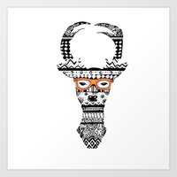Zentangle Hipster Deer Art Print