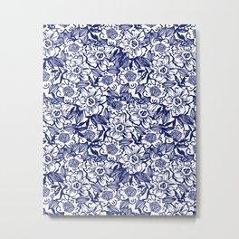 Indigo Florals watercolor painterly botanical boho pattern print nature spring summer monochromatic Metal Print