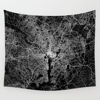 washington Wall Tapestries featuring washington map by Line Line Lines