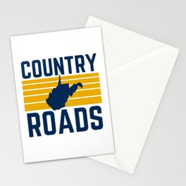 West Virginia Country Roads State Map WV Home Take Me Home Vintage Stationery Cards