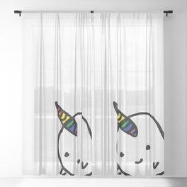 BIG RAINBOW BUDDY NARWHAL Sheer Curtain