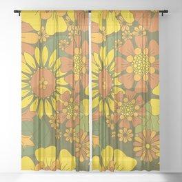 Orange, Brown, Yellow and Green Retro Daisy Pattern Sheer Curtain