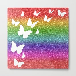 Rainbow Glitter Butterfly Collage Metal Print