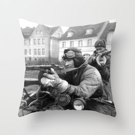 WWII Soviet Soldiers PPsh machineguns motorcycle original Throw Pillow