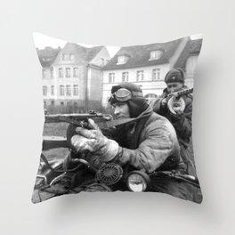 WWII Soviet Soldiers PPsh machineguns motorcycle original Throw Pillow