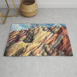 Rainbow mountain abstract artistic colorful mountain Rug