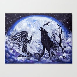 Woman and Wolf Canvas Print