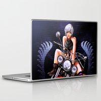 pinup Laptop & iPad Skins featuring Motorcycle pinup by monoguru