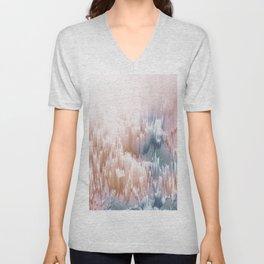Etherial light in blush and blue - Glitch art Unisex V-Neck