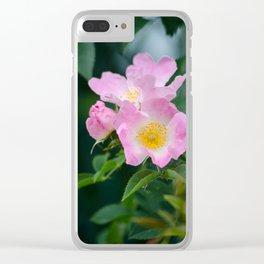 Pink Flower Bush Clear iPhone Case