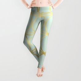 Modern Pastel Green Background with Golden Yellow Circle Lattice Leggings