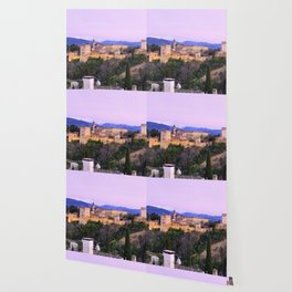 La Alhambra, Sierra Nevada and Granada. At pink sunset Wallpaper