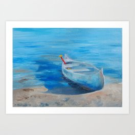 Canoe and Red Paddle Painting Art Print
