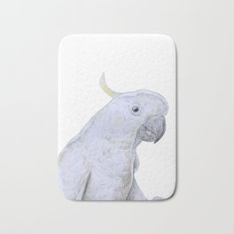 Contemplative Cockatoo Bath Mat