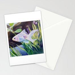 White Goldfish #2 - fish painting Stationery Cards