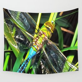 Blue Dragonfly Wings Wall Tapestry