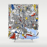 baltimore Shower Curtains featuring Baltimore Mondrian by Mondrian Maps