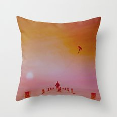 Boy with kite and dog Throw Pillow