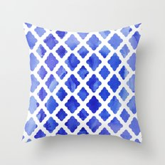 Watercolor Diamonds in Cobalt Blue Throw Pillow