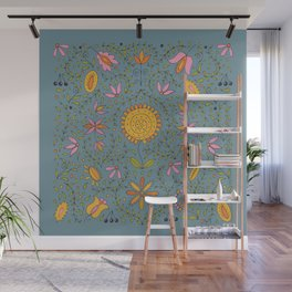 folk sunflower Wall Mural
