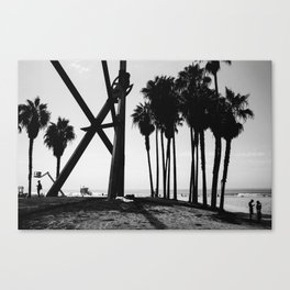 Venice Beach Black And White Canvas Print