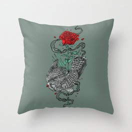 Hawk Rose Throw Pillow