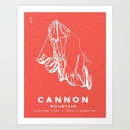Cannon Mountain Ski Trail Map w/ Topography Art Print