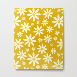 Retro Groovy Daisy Flower Power Vintage Pattern in Ivory, Golden Yellow Mustard Color, Oil Texture Metal Print