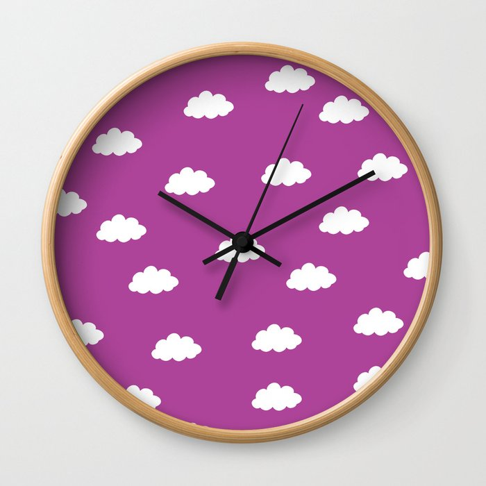 White clouds in purple pink background Wall Clock
