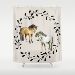 welsh ponies in wreath Shower Curtain
