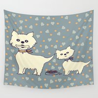 dogs Wall Tapestries featuring dogs by susana