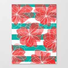 Camelia Coral and Turquoise Canvas Print