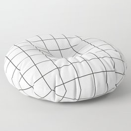 Small Grid Pattern - White Floor Pillow
