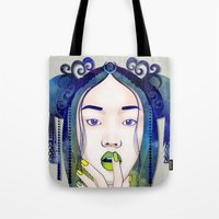luna Tote Bags featuring Luna by Stevyn Llewellyn
