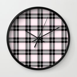 Lavender Blush (#fff0f5) color themed SCOTTISH TARTAN Checkered Fabric Pattern texture background Wall Clock